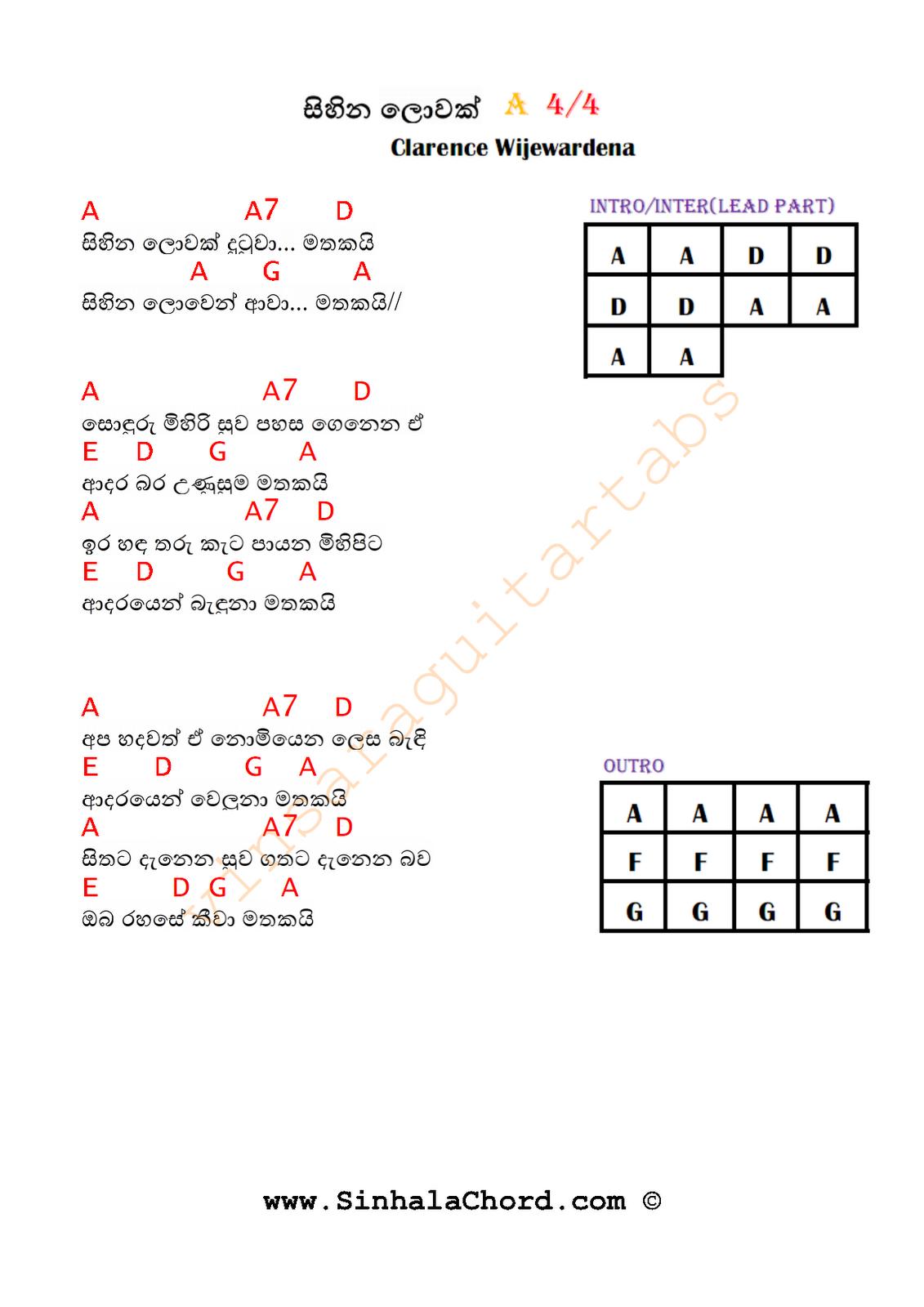 Sihina Lowak Guitar Tab : Sinhala Guitar Chords: Sinhala Songs Chords:Guitar Tabs: Sinhala Midi Tracks