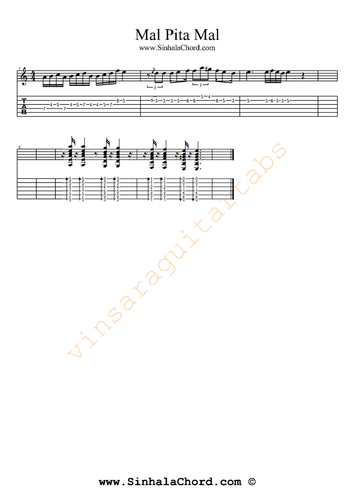 Mal pita mal Guitar Tab : Sinhala Guitar Chords:Sinhala Songs Chords:Guitar Tabs:Sinhala Midi Tracks