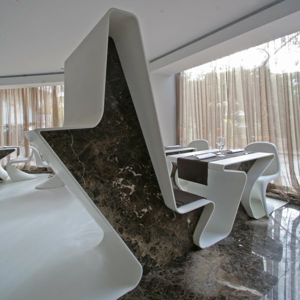 bar design was to recreate the usual typologies of chairs benches stands and coffee tables using forms that morph from one geometry interiors 2 l35 design