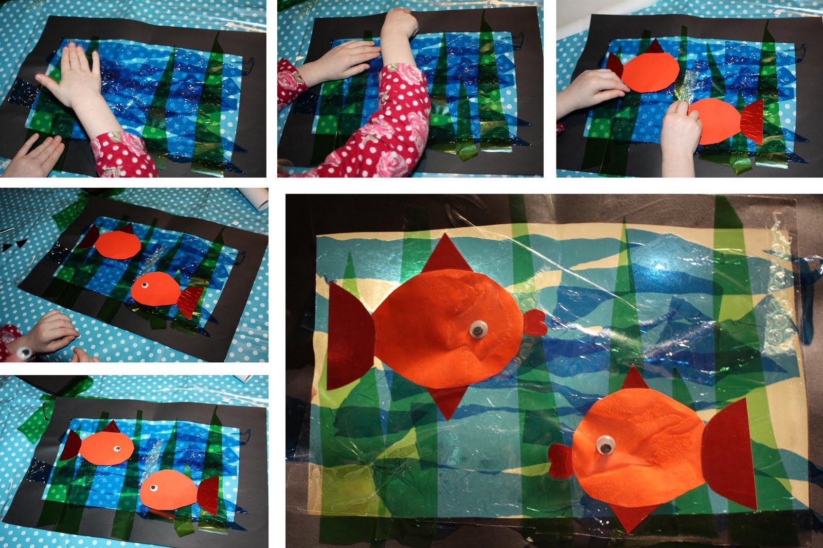 Kids love craft sea life window for Sea life arts and crafts