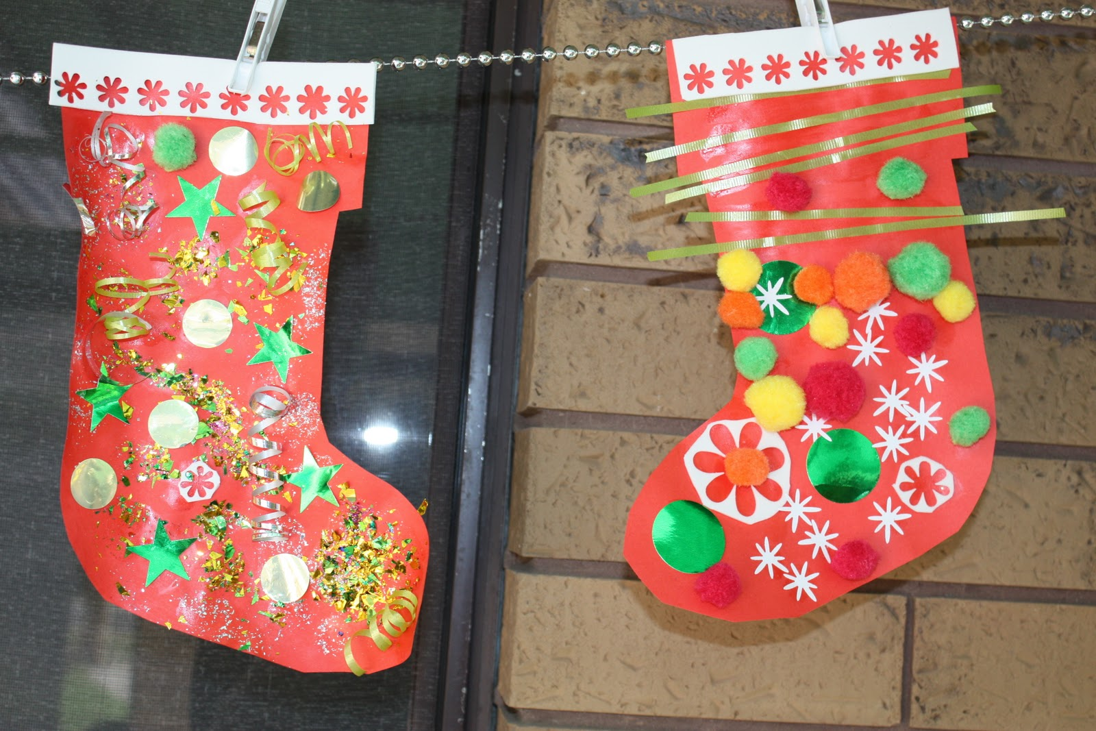 Ordinary Christmas Stocking Craft Ideas Part - 6: Christmas Craft Ideas: Santa, Stockings, Chrismas Train Mural And Snowmen