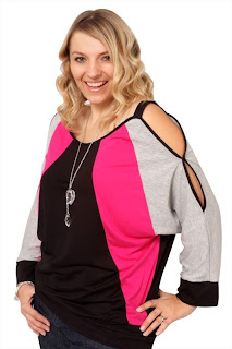 Grey black and pink batwing top