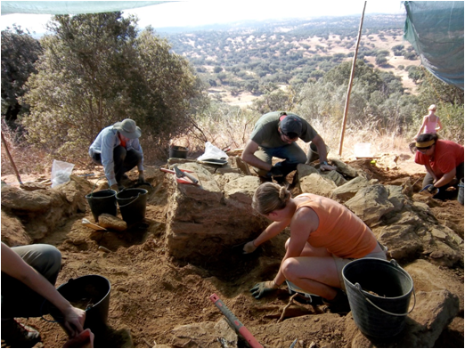The archaeological team at work digging up the watchtower. Photo