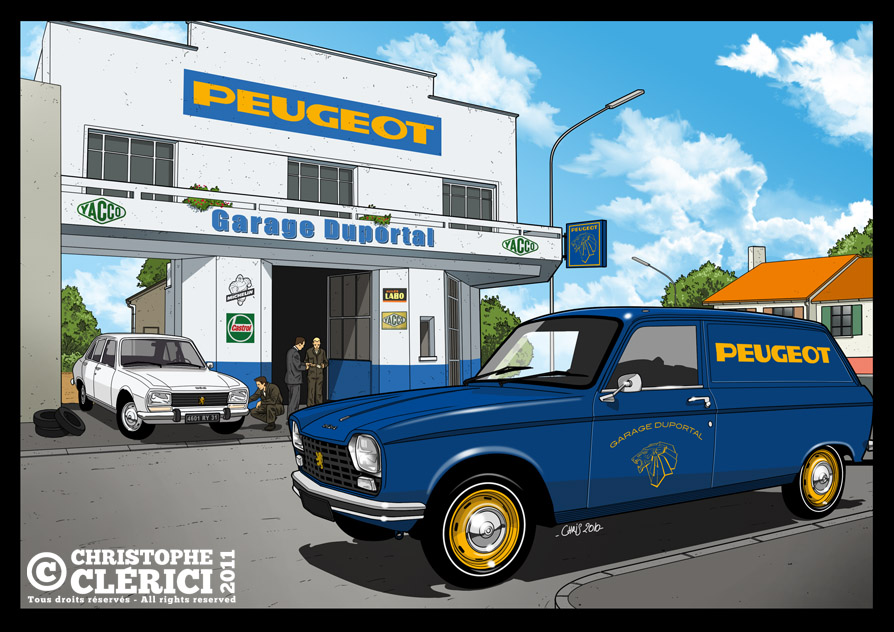 Les illustrations de christophe garage peugeot ann es 70 for Garage des francs garage peugeot tourcoing
