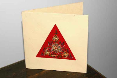 red triangle embroidered card