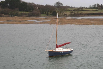 dinghy with sail furled