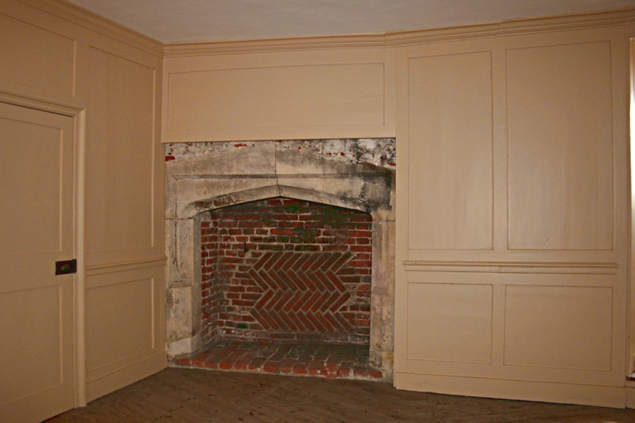 Wood panelling and fireplace in the officers' quarters in Deal Castle