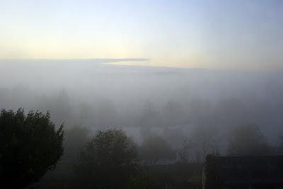 misty dawn sky