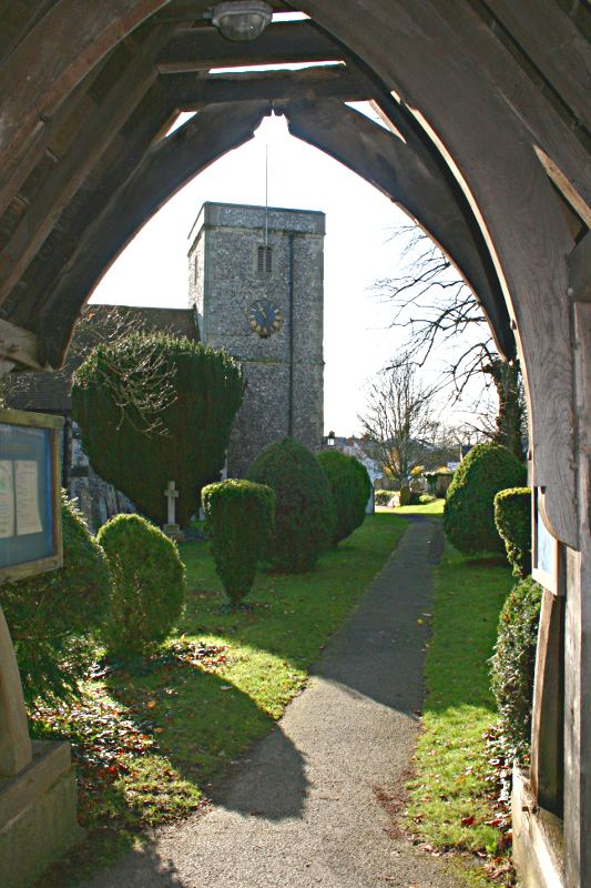 church framed by lychgate