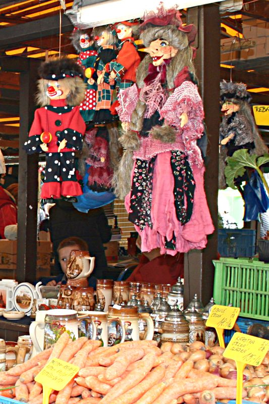 marionettes hanging on a market stall in Prague