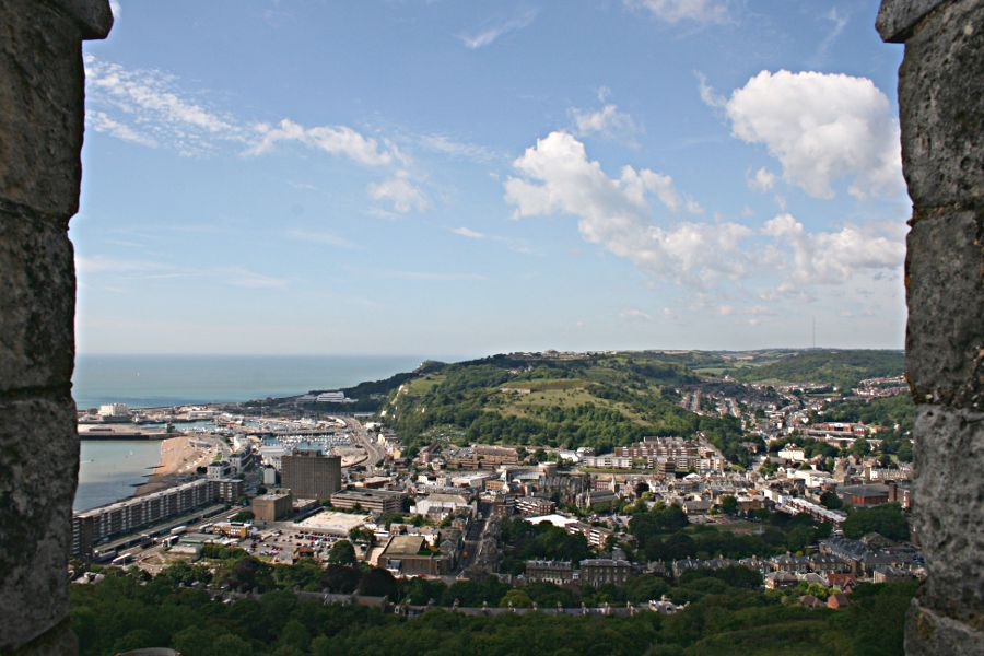 view of western heights from Dover Castle