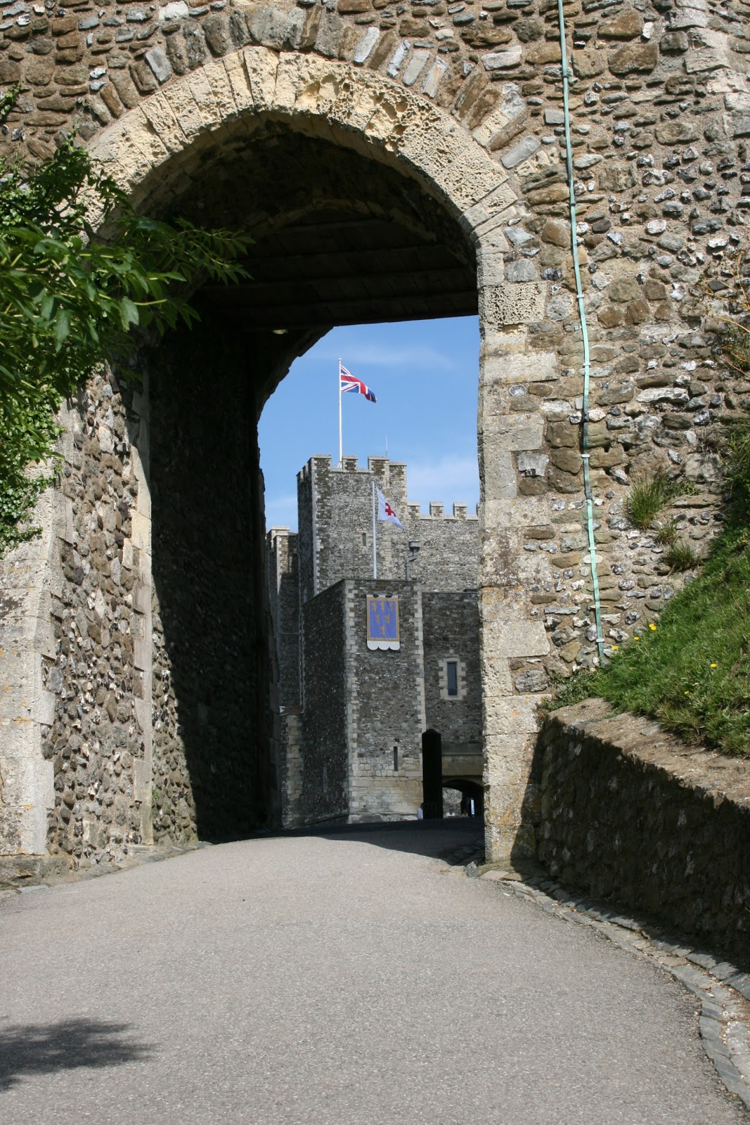Dover castle eep seen through stone gate entrance