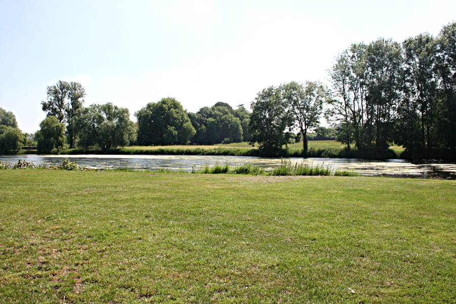 grassed river bank