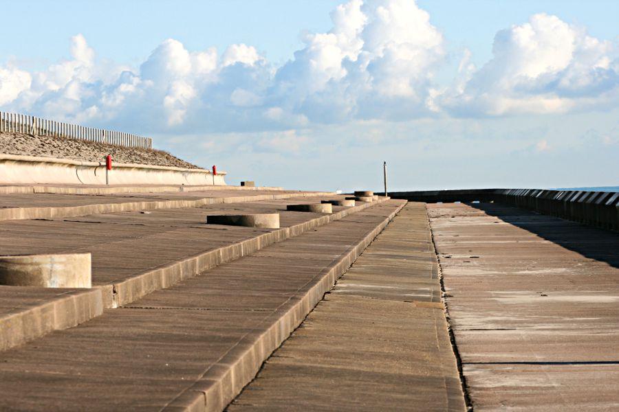 terracing behind sea wall