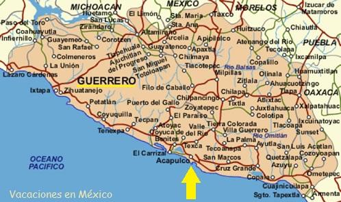 Vacaciones en Mexico Mapas de Guerrero y Acapulco Mxico