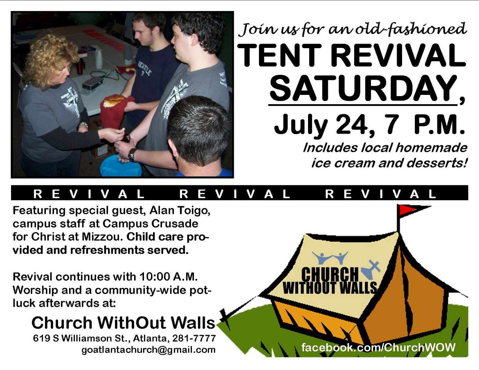 An old fashioned tent revival will be held at Church WithOut Walls in Atlanta on Saturday July 24 2010 at 700 P.M. The public is invited to attend.  sc 1 st  Church WithOut Walls Atlanta Missouri - Blogspot & Old-Fashioned Tent Revival Coming to Atlanta | Church WithOut ...