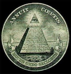 Símbolo Illuminati en el dorso del billete de un dólar