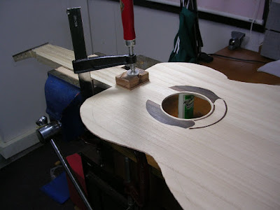 Gluing the soundboard to the headblock