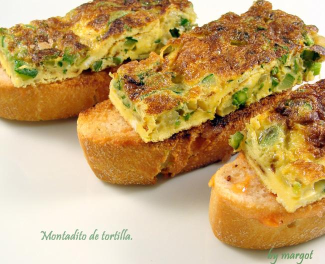 Tortilla de esp rragos calabac n y cebolla en montadito - Tortilla de calabacin y cebolla ...