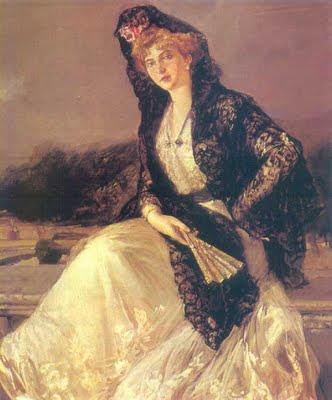 La mantilla española Reina+Victoria+Eugenia+pintada+por+Sorolla