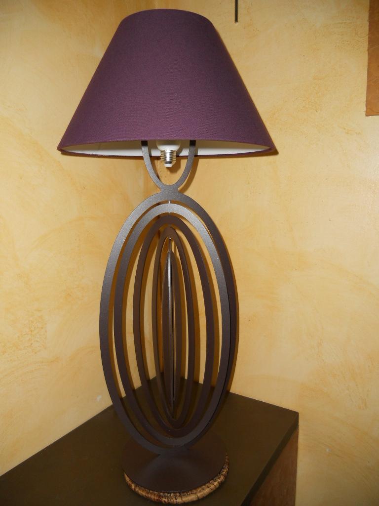 lampe design en fer l 39 ovaline pied de lampe en fer hauteur 590 mm peinture epoxy marron vieilli. Black Bedroom Furniture Sets. Home Design Ideas