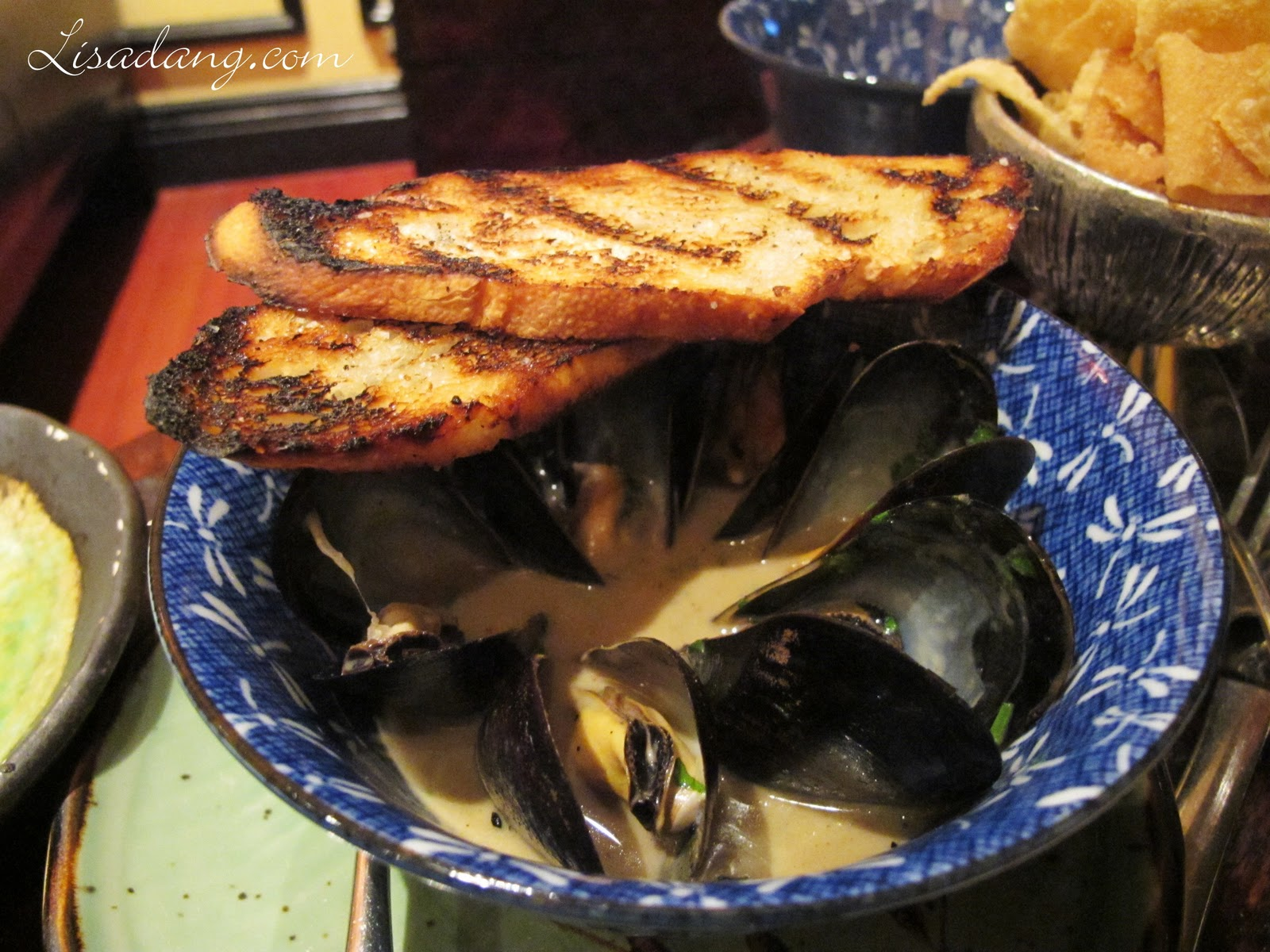 Thai Curry Mussels - Pei mussels, lemon grass chili broth, grilled ...
