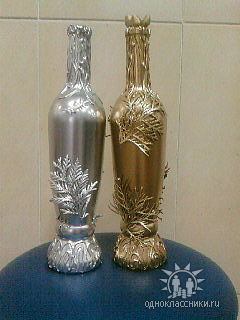 Декор бутылки своими руками мастер класс фото