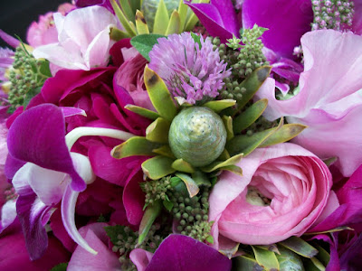 Sweet Pea Floral Design, Ann Arbor wedding, Ann Arbor city club, Bride's Bouquet, Pink, Fuchsia, Dahlia, sweet pea, peonies, mini green luecadendron, parrot tulips, dendrobium orchids, foral, florist, flowers