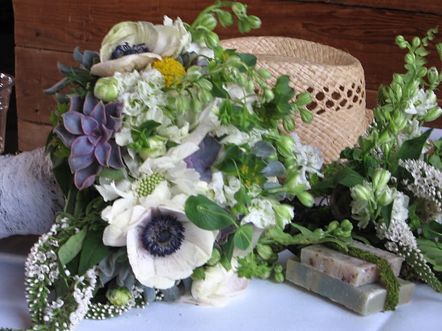 Ann Arbor florist wedding bride bouquet earthy  floral design barn wedding moss birch anemone farm rustic outdoor sweet pea floral design flowers once wed craspedia succulents veronica adamczap misty farms