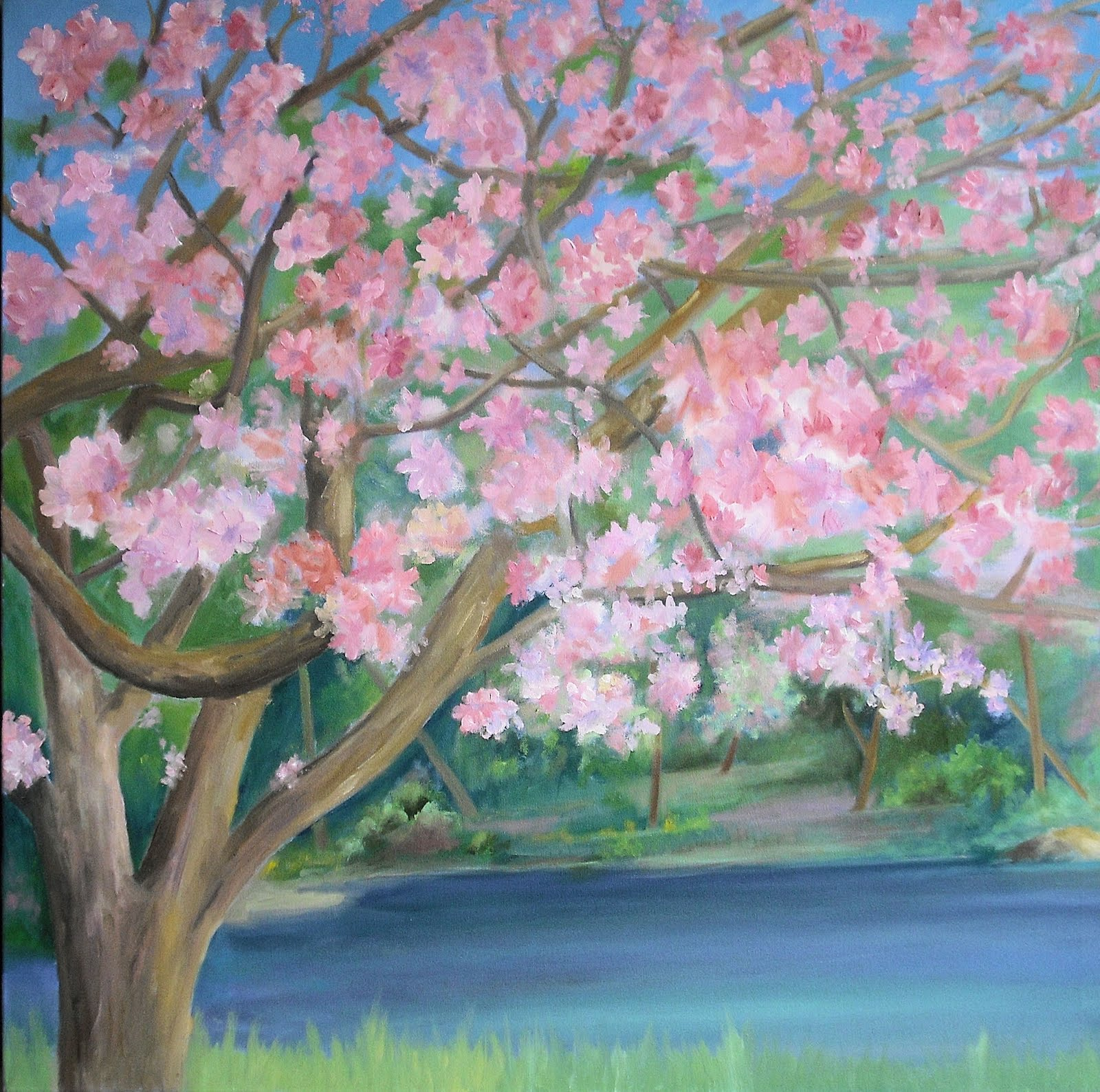 Ken 39 s art studio cherry blossom painting 36x35 drawn for Canvas painting of cherry blossoms