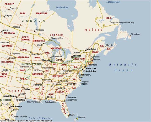 Map of Eastern North America Bing images