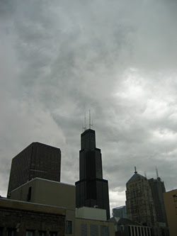 downtown Chicago with a rainy sky
