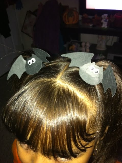 "Here are some ""batty"" hair ties I made for my girls to wear for school on ""batty day"" for Halloween"