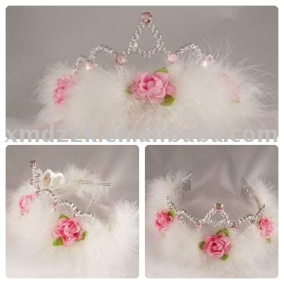 ... Crown_Fairy_tiara_crown_with_white_feather_and_artificial_flowers