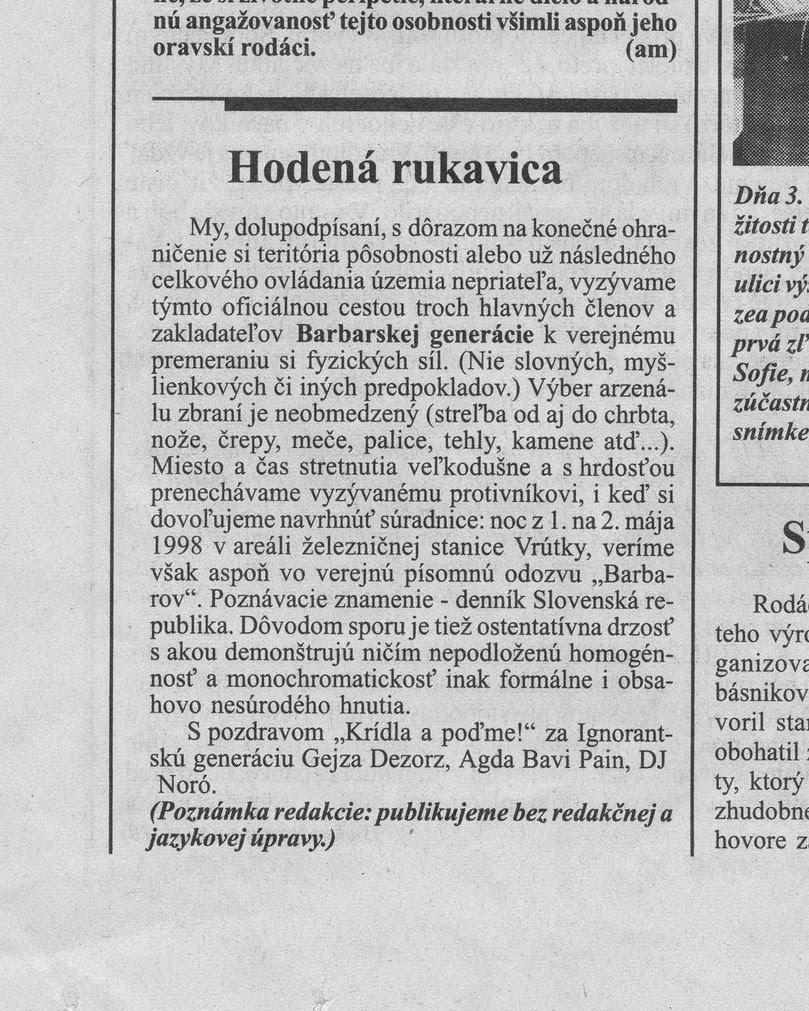 Hodená rukavica MANIFEST 1998