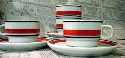 red and white espresso cups from Portugal bought in 1984