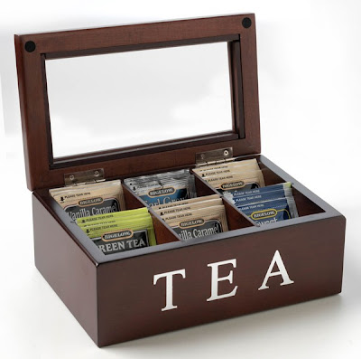 Tea caddy from Mark Feldstein and Associates holds tea bags