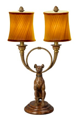 Theodore Alexander makes decorative accessories. These were introduced at the 2009 autumn High Point Furniture Market. Table lamp with a dog as seen in Gift & Home Today