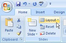 layout button PowerPoint 2007