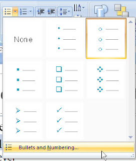 Bullets and numbering button PowerPoint 2007