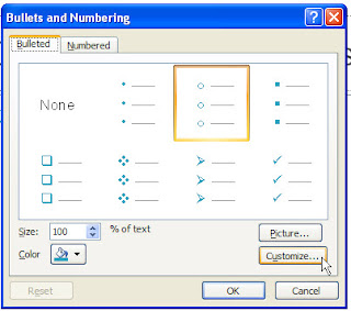 Bullets dialog box PowerPoint 2007