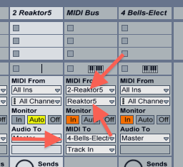Notice that the MIDI Bus track has its inputs set to the Reaktor5 track, bu