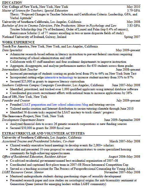 opening statement for resume