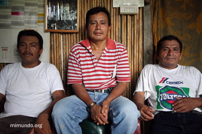 The late Adolfo Ich Chamán (centre) was President of the Community Development Council (COCODE) of La Unión, schoolteacher, and brother-in-law of the jailed peasant leader Ramiro Choc. – James Rodríguez photo.
