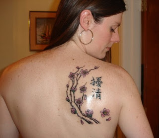 Women Upper Back Japanese Cherry Blossom Tattoos Picture 3