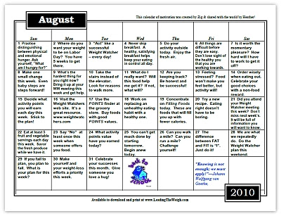 Click here to print or download the August Motivational Calendar