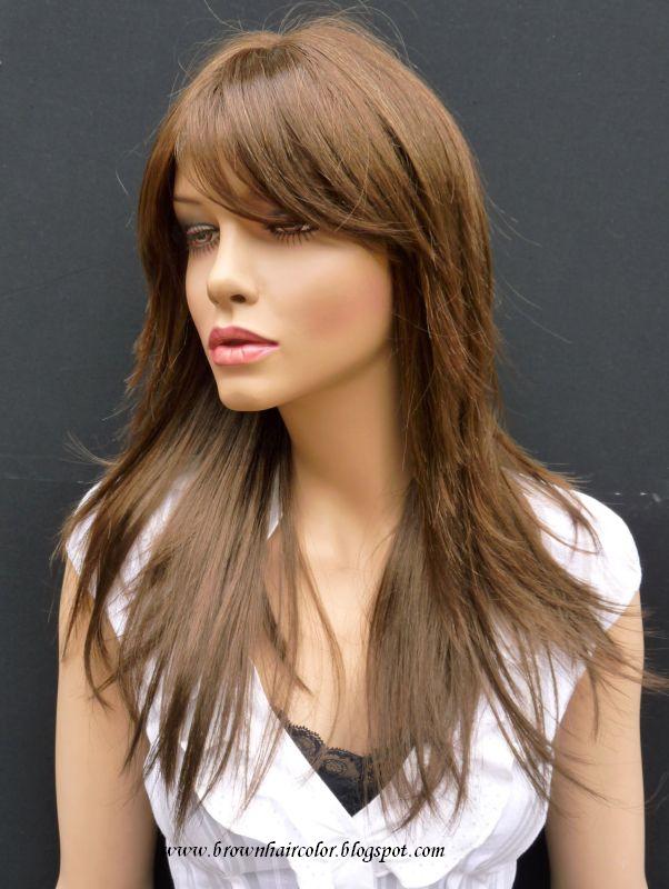brown hair with caramel highlights. dark rown hair and caramel