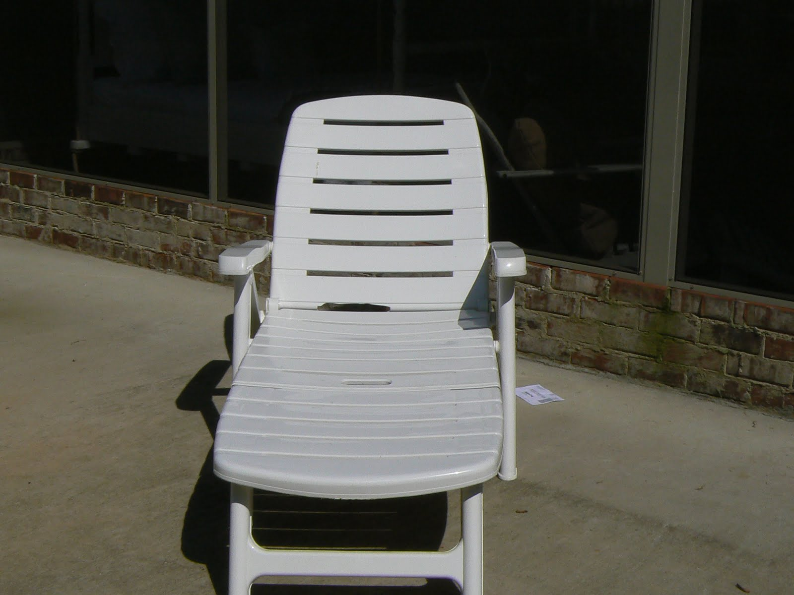 A well loved home creating a shabby chic outdoor patio for Adams mfg corp white reclining chaise lounge
