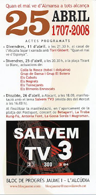 Cartell anunciant el 25 d'abril a l'Alcúdia