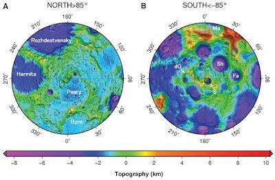 Mapas topográficos de los polos de la Luna